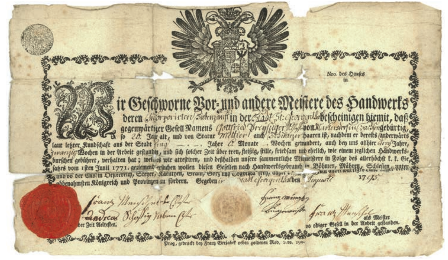 Gottfried Preußger, Gesellenbrief