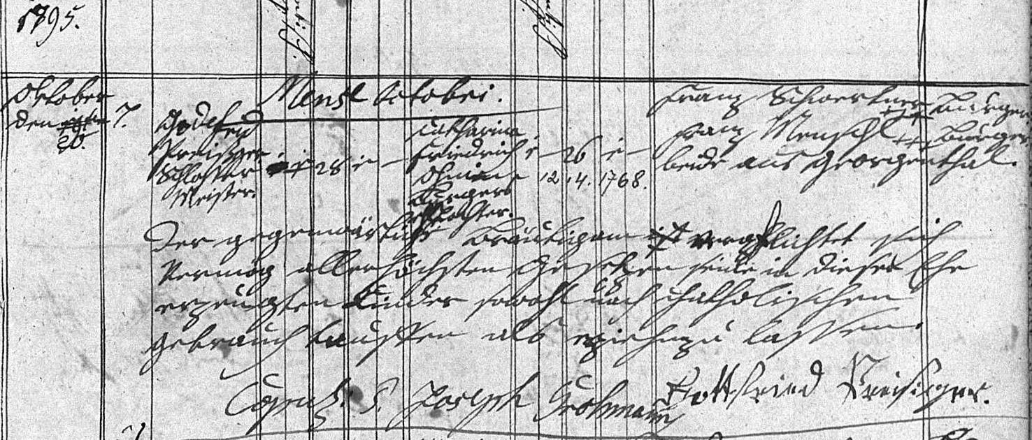 Trauung mit Katharina Oheim am 20.10.1795